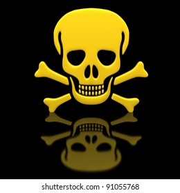 Yellow skull and crossbones on a black glossy surface.