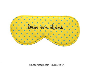Yellow Sleep mask with Small Blue Polka Dots