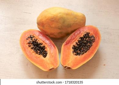 Yellow Sliced Papaya fruits , Healthiest food