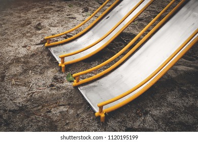 yellow slide in the playground