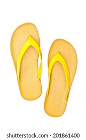 Yellow slippers isolated on white