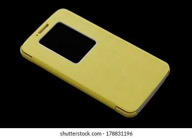 Yellow smart phone concept on dark background