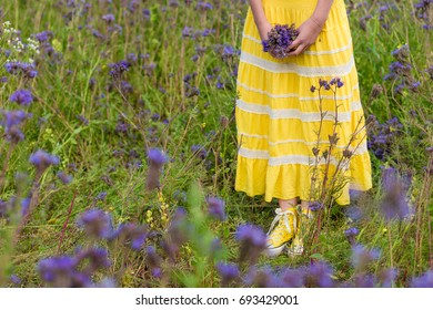 Beautiful young girl yellow dress blooming stock photo edit now yellow sneakers in the grass beautiful young girl in a yellow dress a blooming summer mightylinksfo