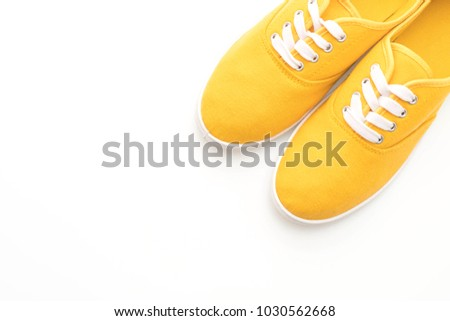 5b9dcf9cd6b61f Yellow Sneakers Isolated On White Background Stock Photo (Edit Now ...