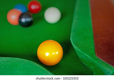 yellow snooker ball near the corner hole on the table with white red black and pink behind.