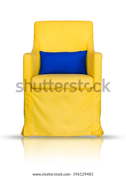 yellow sofa and blue pillow isolated on white background, include clipping path.