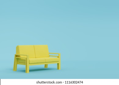Yellow sofa in blue room, pastel color style. Minimal style concept.