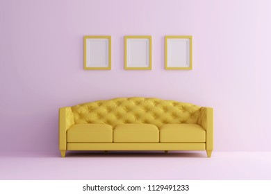 a yellow sofa in pink living room with picture frame. Minimal style concept. pastel color style.