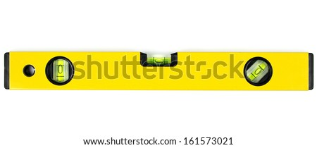 Yellow spirit level isolated on white background.