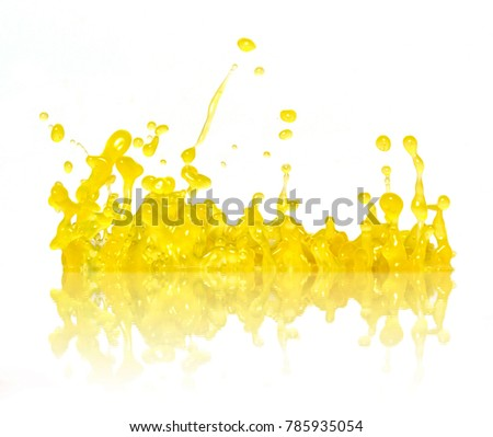 Yellow splash with reflection