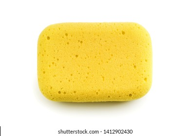 Yellow sponge isolated on the white background. Top view