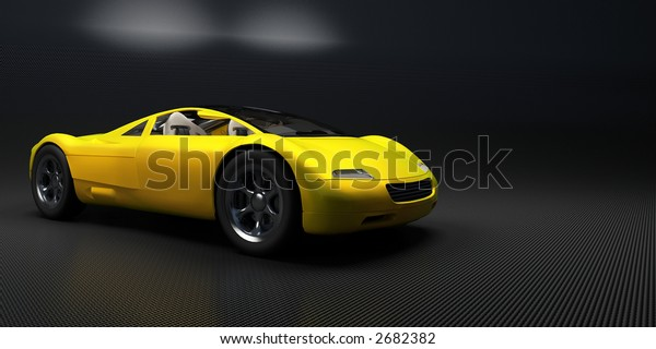 yellow sport's car on a dark background