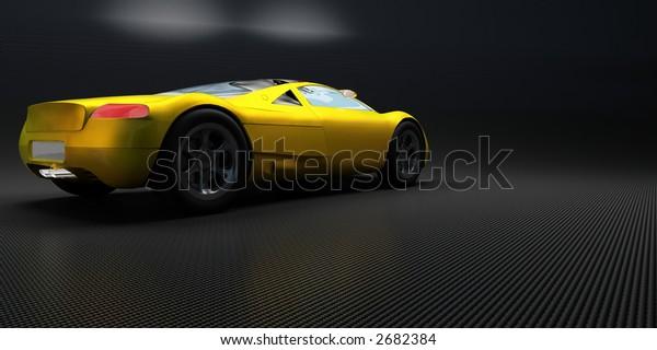 yellow sport's car on a dark background