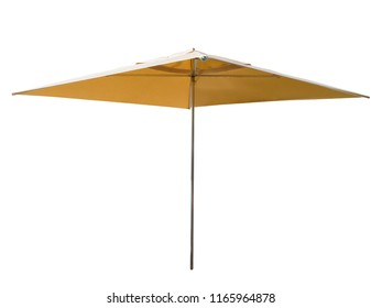Yellow square beach umbrella isolated on white. Clipping path included.
