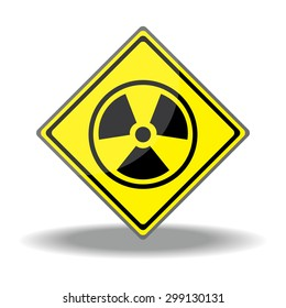 Yellow square shaped Warning Radioactive Material sign on white background