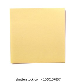 Yellow square sticky post note isolated on white