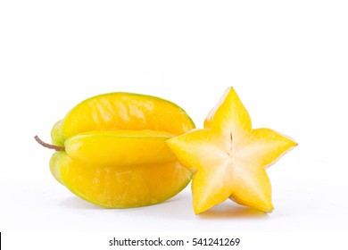 yellow star fruit carambola or star apple ( starfruit ) on white background healthy star fruit food isolated