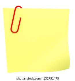 Yellow stick note on white. 3D illustration.