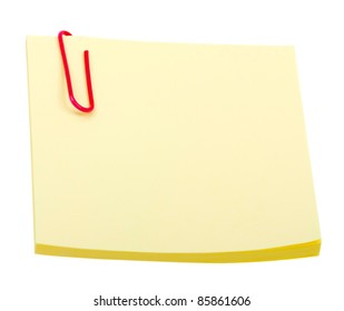 Yellow sticker note with clip isolated on white background