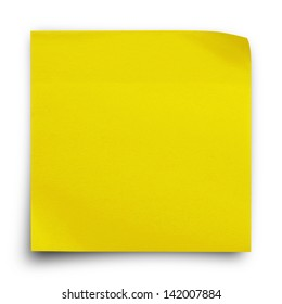 Yellow sticker paper note on white background