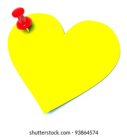 yellow sticker in the shape of heart