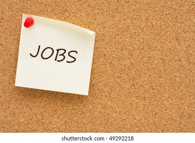 A yellow sticky note on a corkboard, Job posting