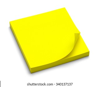 Yellow Sticky Note Pad Isolated on a White Background.