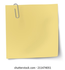 Yellow sticky note with paper clip. Raster version illustration.