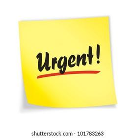 "Yellow sticky note ""urgent"", illustration"