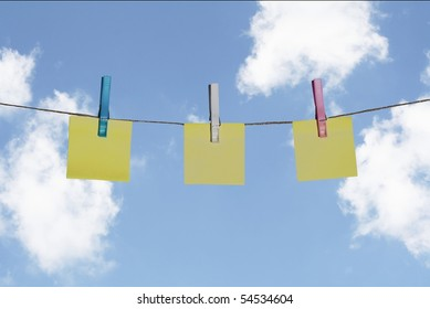 Yellow Sticky Notes on Washing Line - Blank for your copy.