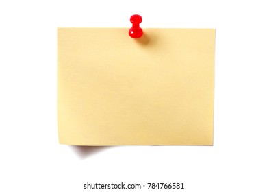 Yellow sticky post note with pin isolated on white