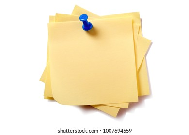 Yellow sticky post notes with pushpin pin isolated on white background