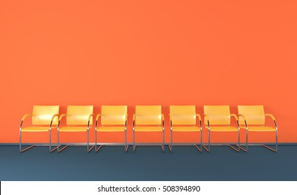 Yellow stools in the orange waiting room 3D render
