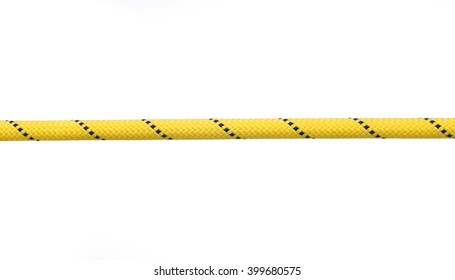Yellow straight rope for rock climbing macro photo isolated on white