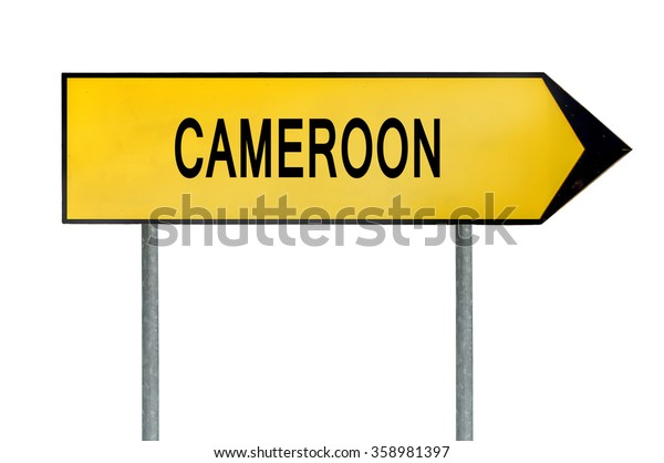 Yellow street concept sign Cameroon isolated on white