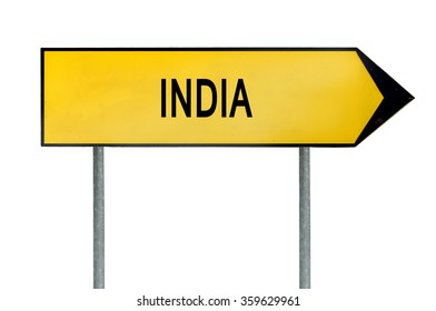 Yellow street concept sign India isolated on white