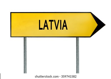 Yellow street concept sign Latvia isolated on white