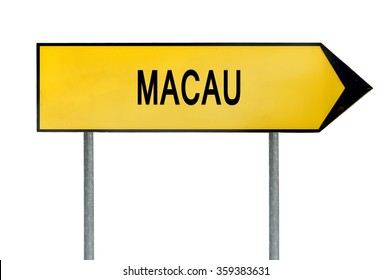 Yellow street concept sign Macau isolated on white