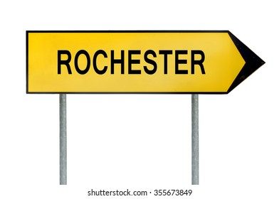 Yellow street concept sign Rochester isolated on white