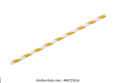 yellow striped eco paper straw isolated on white