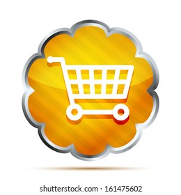 Yellow striped shopping cart icon on a white background