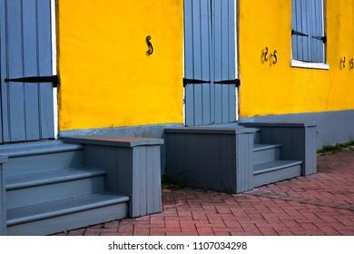 Yellow stucco wall