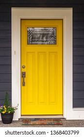 yellow suburban door