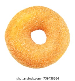 Yellow sugar donut isolated on white background with clipping path