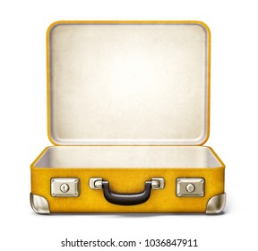 yellow suitcase isolated on a white. 3d illustration