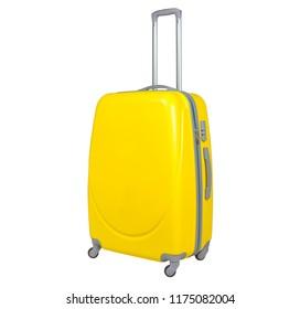 Yellow suitcase isolated on white background. Polycarbonate suitcase isolated on white. Yellow suitcase.