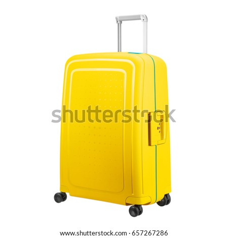 Yellow Suitcase Isolated On White Background Stock Photo Edit Now