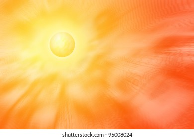 Yellow sun with corona emitting rays, electromagnetic waves, heat and waves of energy