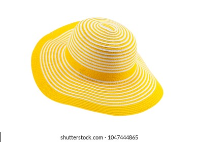 c4b882e6 Yellow Sun Hat isolated on white background with clipping path