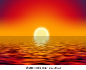 yellow sun over the ocean and red sky